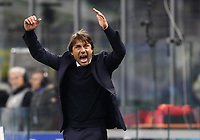 Calcio, Serie A: Inter Milano - Hellas Verona, Giuseppe Meazza stadium, November 9, 2019.<br /> Inter's coach Antonio Conte celebrates after winning 2-1  the Italian Serie A football match between Inter and Hellas Verona at Giuseppe Meazza (San Siro) stadium, on November 9, 2019.<br /> UPDATE IMAGES PRESS/Isabella Bonotto