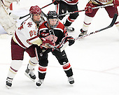 Mary Restuccia (BC - 22), Kendall Coyne (Northeastern - 77) - The Northeastern University Huskies defeated the Boston College Eagles in a shootout on Monday, January 31, 2012, in the opening round of the 2012 Women's Beanpot at Walter Brown Arena in Boston, Massachusetts. The game is considered a 1-1 tie for NCAA purposes.