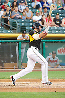 Ian Stewart (4) of the Salt Lake Bees at bat against the Nashville Sounds in Pacific Coast League action at Smith's Ballpark on June 23, 2014 in Salt Lake City, Utah.  Stewart, from the Los Angeles Angels of Anaheim, was in the lineup for a rehab stint with the Bees.  (Stephen Smith/Four Seam Images)