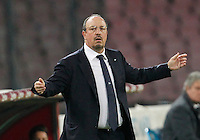 Rafael Benitez  reacts during the Italian Serie A soccer match between SSC Napoli and Verona  at San Paolo stadium in Naples, October 26, 2014