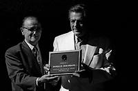 FILE -  serge Losique<br />  and Marcello Mastroianni<br />  at the World Film Festival, 1986<br /> <br />  Photo : Pierre Roussel - Agence Quebec Presse