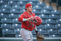 Catcher Marlon Marcano (8), of the AZL Angels, during an Arizona League game against the AZL Padres 1 on August 5, 2019 at Tempe Diablo Stadium in Tempe, Arizona. AZL Padres 1 defeated the AZL Angels 5-0. (Zachary Lucy/Four Seam Images)