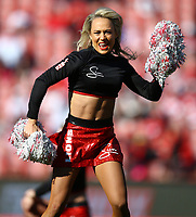 Cheerleaders entertain the crowd during the Super Rugby quarter-final match between the Emirates Lions and the Jaguares at the Emirates Airlines Park Stadium,Johannesburg, South Africa on Saturday, 21 July 2018. Photo: Steve Haag / stevehaagsports.com