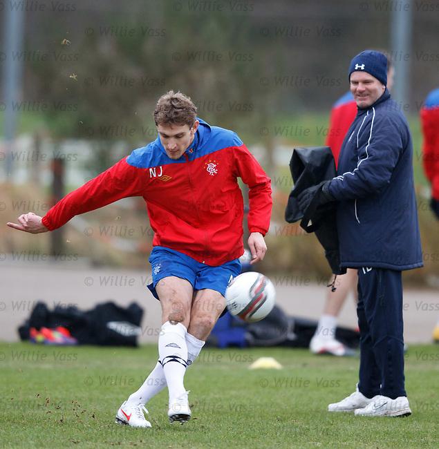 Nikica Jelavic practising free-kicks under the watch of Ian Durrant