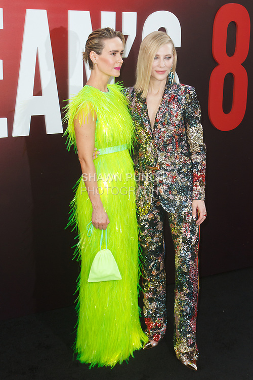 Sarah Paulson (left) and Cate Blanchett arrives at the World Premiere of Ocean's 8 at Alice Tully Hall in New York City, on June 5, 2018.