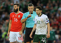 Referee Damir Skomina has words with Ireland's Harry Arter<br /> <br /> Photographer Ian Cook/CameraSport<br /> <br /> FIFA World Cup Qualifying - European Region - Group D - Wales v Republic of Ireland - Monday 9th October 2017 - Cardiff City Stadium - Cardiff<br /> <br /> World Copyright &copy; 2017 CameraSport. All rights reserved. 43 Linden Ave. Countesthorpe. Leicester. England. LE8 5PG - Tel: +44 (0) 116 277 4147 - admin@camerasport.com - www.camerasport.com