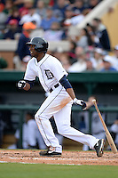 Detroit Tigers outfielder Austin Jackson (14) during a spring training game against the Atlanta Braves on February 27, 2014 at Joker Marchant Stadium in Lakeland, Florida.  Detroit defeated Atlanta 5-2.  (Mike Janes/Four Seam Images)