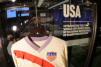 The jersey worn by National Soccer Hall of Fame member Walter Bahr during the 1950 World Cup on display during the unveiling of the USA Men's National Team new uniform at Niketown in NYC, NY, on April 29, 2010.