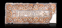 Fifth century Eastern Roman Byzantine  Christian funerary mosaic dedicated to Leontia.  The Constantinian monogram depicting the Christian Chi-Rho symbol used by the Roman emperor Constantine I as part of his military standard (vexillum).  The inscription in the cartouche reads &quot; Leontia in peace and harmony with God, entered into eternal life on the Sixth Ides of October&quot;. Two birds and cut Roses occupy the rest of the mosaic. <br />