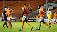 Blackpool's Michael Nottingham celebrates with Joe Nuttall<br /> <br /> Photographer Alex Dodd/CameraSport<br /> <br /> EFL Leasing.com Trophy - Northern Section - Group G - Blackpool v Morecambe - Tuesday 3rd September 2019 - Bloomfield Road - Blackpool<br />  <br /> World Copyright © 2018 CameraSport. All rights reserved. 43 Linden Ave. Countesthorpe. Leicester. England. LE8 5PG - Tel: +44 (0) 116 277 4147 - admin@camerasport.com - www.camerasport.com