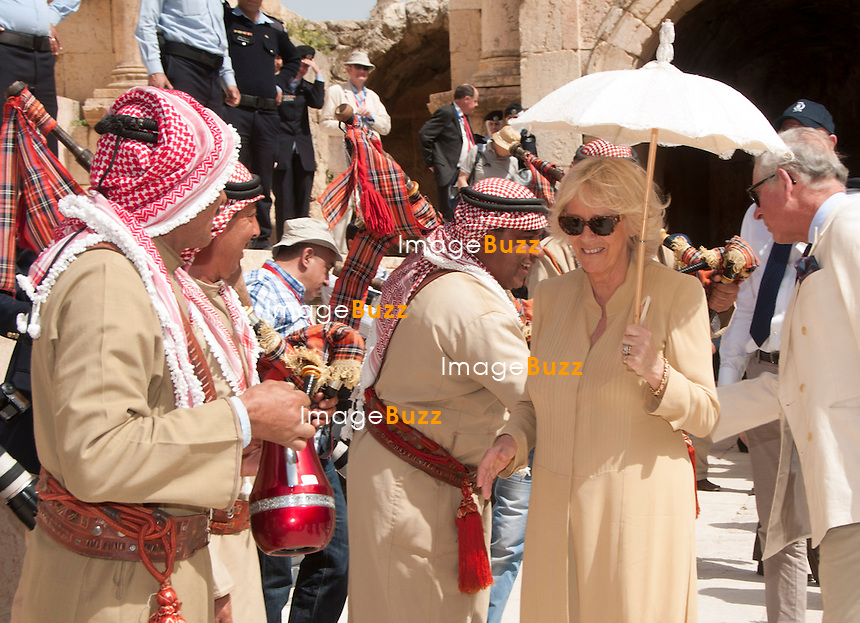 PRINCE CHARLES AND CAMIILA, DUCHESS OF CORNWALL.visit the ancient ruins of Jerash, where they also took traditional tea Jordan_13/03/2013.The Royal couple are on a tour of four Middle Eastern countries.
