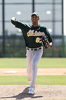 Michael Ynoa, Oakland Athletics, pitching in an intrasquad game during minor league spring training at Papago Park, Phoenix, AZ - 03/16/2010. It was the first game action for Ynoa since signing with the Athletics in July 2008..Photo by:  Bill Mitchell/Four Seam Images.