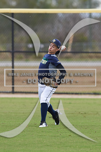 Korbyn Dickerson (5) of Jeffersonville, Indiana during the Baseball Factory All-America Pre-Season Rookie Tournament, powered by Under Armour, on January 13, 2018 at Lake Myrtle Sports Complex in Auburndale, Florida.  (Michael Johnson/Four Seam Images)
