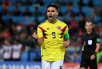 MOSCU - RUSIA, 03-07-2018: Radamel FALCAO GARCIA jugador de Colombia celebra después de anotar un gol en la tanda de penales definitorios a Inglaterra durante partido de octavos de final por la Copa Mundial de la FIFA Rusia 2018 jugado en el estadio del Spartak en Moscú, Rusia. / Radamel FALCAO GARCIA player of Colombia celebrates after scoring a penal goal in the penalty shoot out to Inglaterra during match of the round of 16 for the FIFA World Cup Russia 2018 played at Spartak stadium in Moscow, Russia. Photo: VizzorImage / Julian Medina / Cont