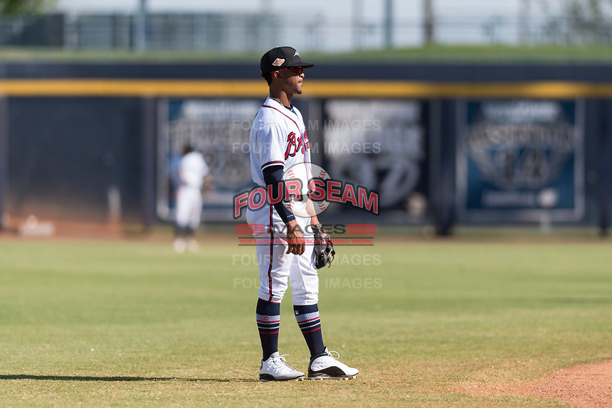 Peoria Javelinas shortstop Ray-Patrick Didder (1), of the Atlanta Braves organization, during an Arizona Fall League game against the Glendale Desert Dogs at Peoria Sports Complex on October 22, 2018 in Peoria, Arizona. Glendale defeated Peoria 6-2. (Zachary Lucy/Four Seam Images)