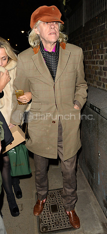 Bob Geldof attending Rolling Stone Mick Jagger's Christmas party in London, UK.<br /> <br /> DECEMBER 13th 2018. Credit: Matrix/MediaPunch ***FOR USA ONLY***<br /> <br /> REF: LTN 184623