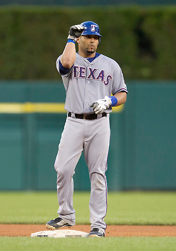 August 03, 2011:  Texas Rangers catcher Yorvit Torrealba (#8) motions to teammates after hitting double during MLB game action between the Texas Rangers and the Detroit Tigers at Comerica Park in Detroit, Michigan.  The Tigers defeated the Rangers 5-4.