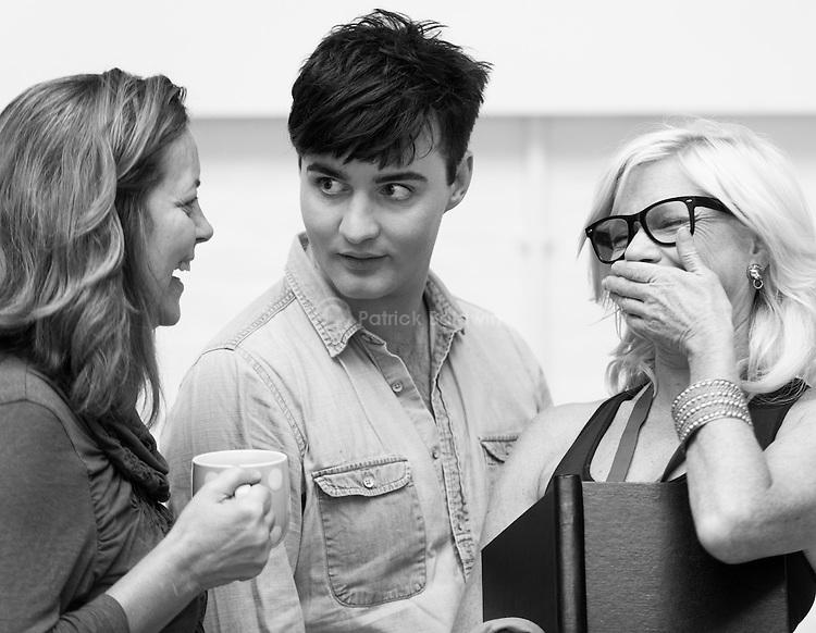 """King Lear"" rehearsed reading rehearsals. Old Vic Theatre. Director: Jonathan Miller. Greta Scacchi (L), Jos Vantyler (C), Felicity Dean (R)."