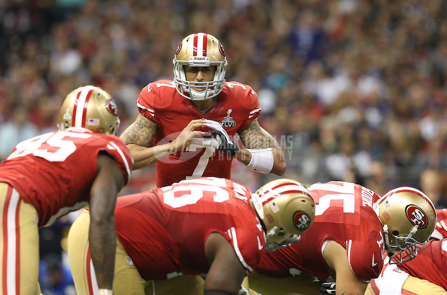 Feb 3, 2013; New Orleans, LA, USA; San Francisco 49ers quarterback Colin Kaepernick (7) calls a play against the Baltimore Ravens in Super Bowl XLVII at the Mercedes-Benz Superdome. Mandatory Credit: Mark J. Rebilas-