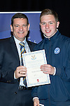 St Johnstone FC Youth Academy Presentation Night at Perth Concert Hall..21.04.14<br /> Chairman Steve Brown presents to Blaine Duncan<br /> Picture by Graeme Hart.<br /> Copyright Perthshire Picture Agency<br /> Tel: 01738 623350  Mobile: 07990 594431