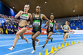 2nd February 2019, Karlsruhe, Germany;  3000m women: winner Melissa Courtney (GBR) overtakes in the final curve Alemaz Samuel (ETH). IAAF Indoor athletics maeeting, Karlsruhe