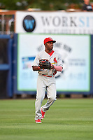 Palm Beach Cardinals left fielder Randy Arozarena (22) throws the ball in during a game against the Charlotte Stone Crabs on April 11, 2017 at Charlotte Sports Park in Port Charlotte, Florida.  Palm Beach defeated Charlotte 12-6.  (Mike Janes/Four Seam Images)