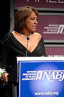 January 26, 2012  (Washington, DC)  KCBS-TV co-anchor Pat Harvey speaks after her induction to the 2012 National Association of Black Journalists (NABJ) Hall of Fame, during a ceremony at the Newseum in Washington.  (Photo by Don Baxter/Media Images International)