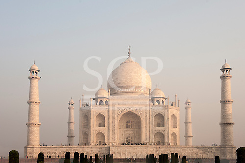Agra, Uttar Pradesh, India.  Taj Mahal in the pink light of the dawn.