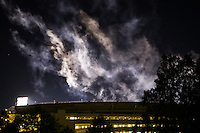 Football Game Day: MSU vs LSU -- stadium smoke from fireworks<br />  (photo by Megan Bean / &copy; Mississippi State University)