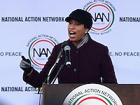"Washington, DC - January 14, 2017: District of Columbia Mayor Muriel Bowser speaks to hundreds of people gathered near the Martin Luther King, Jr. Memorial, January 14, 2017, during a rally after Rev. Al Sharpton's ""We Shall Not be Moved March."" (Photo by Don Baxter/Media Images International)"