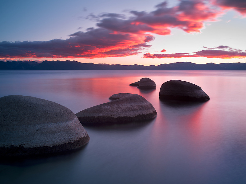 Sunset at Chimney Beach. Lake Tahoe, Nevada