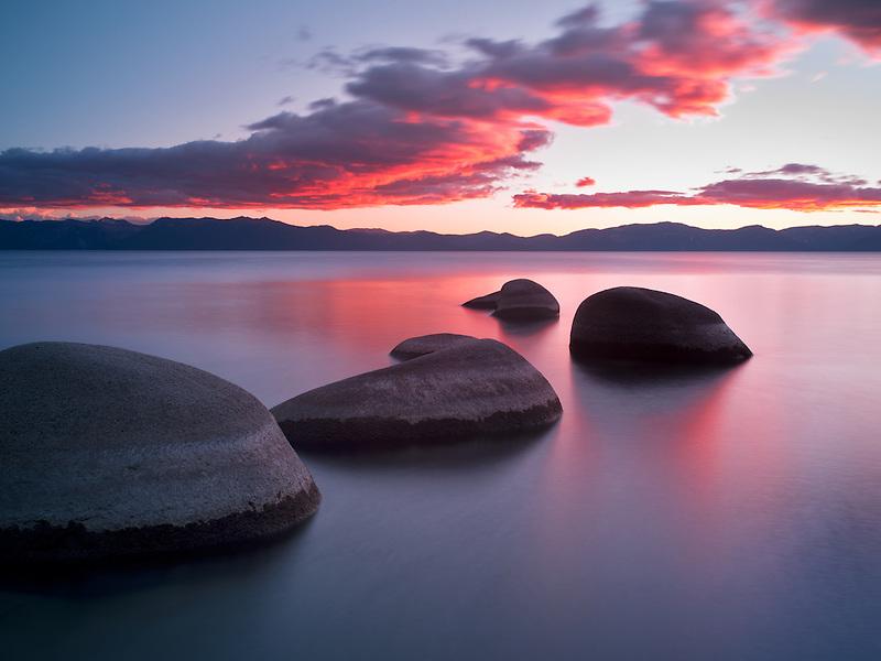 Sunset at Chimney Beach. Lake Tahoe, Nevada