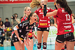 20.12.2017, Margon-Arena, Dresden, GER, DVV-Pokal Damen Halbfinale, Dresdner SC vs. SSC Palmberg Schwerin, im Bild<br /> <br /> <br /> Myrthe Schoot (#9, Dresdner SC), Eva Hodanov? (#13, Dresdner SC), Dominika Strumilo (#7, Dresdner SC) beim Jubel<br /> <br /> Foto &copy; nordphoto / Dostmann