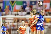 Houston, TX - Wednesday June 28, 2017: Natasha Dowie heads the ball over Morgan Brian during a regular season National Women's Soccer League (NWSL) match between the Houston Dash and the Boston Breakers at BBVA Compass Stadium.