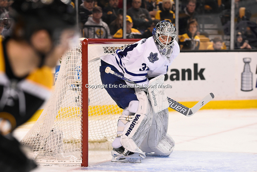 April 4, 2015 - Boston, Massachusetts, U.S. - Toronto Maple Leafs goalie James Reimer (34) in game action during the NHL match between the Toronto Maple Leafs and the Boston Bruins held at TD Garden in Boston Massachusetts. Eric Canha/CSM