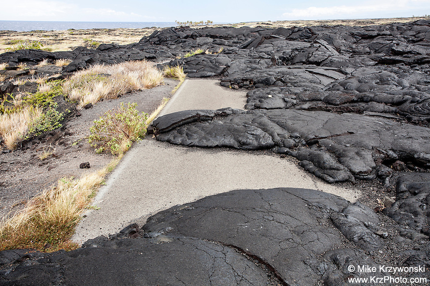 Lava rock covering Chain of Craters Road in Hawaii Volcanoes National Park, Big Island, Hawaii