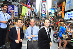 We Love Soaps Kevin Mulcahy (R) with photog & Eric & Glenn (bro to Kevin) on August 18, 2012 in Times Square, New York City, New York. (Photos by Sue Coflin/Max Photos)