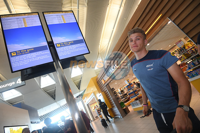 New race leader Marcel Kittel (GER) Etixx-Quick Step pictured in Schipol Airport on his way from Amsterdam to the airport at Lamezia Terme in the far south of Italy, and then Catanzaro, the start town for Stage 4 tomorrow, The Netherlands. 9th May 2016.<br /> Picture: ANSA/Claudio Peri | Newsfile<br /> <br /> <br /> All photos usage must carry mandatory copyright credit (&copy; Newsfile | ANSA/Claudio Peri)