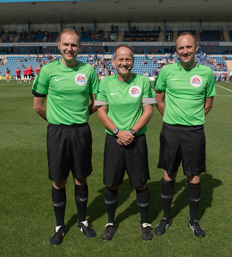 Match officials / assistant referees and referee Robert Lewis (centre)<br /> <br /> Photographer David Horton/CameraSport<br /> <br /> The EFL Sky Bet League One - Gillingham v Bolton Wanderers - Saturday 31st August 2019 - Priestfield Stadium - Gillingham<br /> <br /> World Copyright © 2019 CameraSport. All rights reserved. 43 Linden Ave. Countesthorpe. Leicester. England. LE8 5PG - Tel: +44 (0) 116 277 4147 - admin@camerasport.com - www.camerasport.com