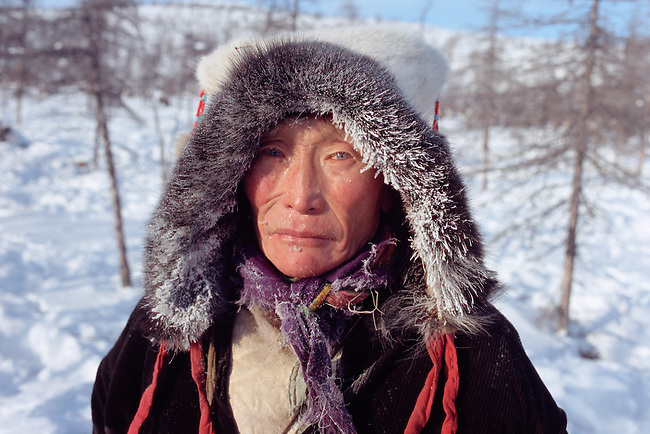 Vitally Elrika, an elderly Even reindeer herder, at his winter pastures. Northern Evensk, Magadan Region, E. Siberia, Russia