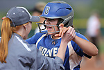 Basic Wolves' Mikayla Berg celebrates a hit in the bottom of the seventh inning against the Douglas Tigers during the NIAA 4A softball tournament, in Reno, Nev., on Thursday, May 17, 2018. Despite a late rally, Douglas won 8-5. Cathleen Allison/Las Vegas Review-Journal