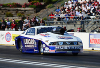 May 18, 2012; Topeka, KS, USA: NHRA pro stock driver Larry Morgan during qualifying for the Summer Nationals at Heartland Park Topeka. Mandatory Credit: Mark J. Rebilas-