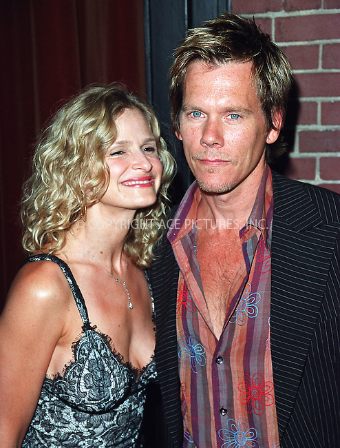 Kevin Bacon and wife Kyra Sedgwick attending a party celebration of the first anniversary of his club Man Ray. New York, July 10, 2002. Please byline: Alecsey Boldeskul/NY Photo Press.   ..*PAY-PER-USE*      ....NY Photo Press:  ..phone (646) 267-6913;   ..e-mail: info@nyphotopress.com