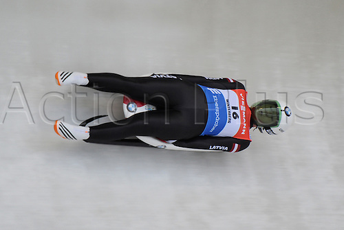 20.02.2016. Winterberg, Germany.  Eliza Cauce of Latvia finishes fourth in the women's single-seater event at the Luge World Cup in Winterberg, Germany, 20 February 2016.