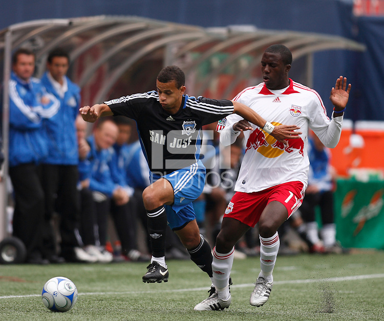 San Jose Earthquakes defender Jason Hernandez (21) gets past New York Red Bulls forward Jozy Altidore (17). The New York Red Bulls defeated the San Jose Earthquakes 2-0 during a Major League Soccer match at Giants Stadium in East Rutherford, NJ, on April 27, 2008.