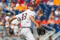 Mississippi State pitcher Ross Mitchell (48) makes a throw to first base during Game 11 of the 2013 Men's College World Series against the Oregon State Beavers on June 21, 2013 at TD Ameritrade Park in Omaha, Nebraska. The Bulldogs defeated the Beavers 4-1, to reach the CWS Final and eliminating Oregon State from the tournament. (Andrew Woolley/Four Seam Images)