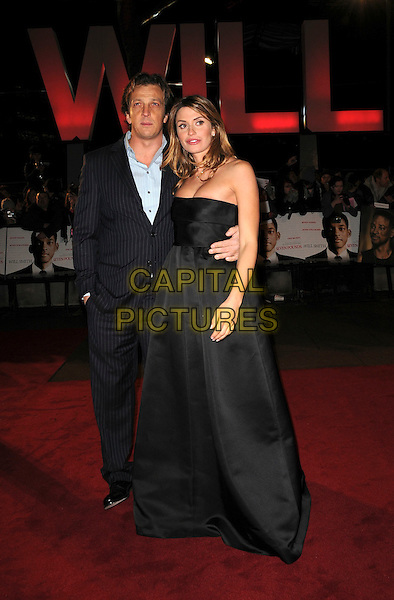 "GABRIELE MUCCINO & ANGELICA RUSSO.Attending the UK Film Premiere of ""Seven Pounds"" at the Empire Cinema, Leicester Square, London, England, January 14th 2009..full length blue pinstripe suit strapless black long maxi dress  .CAP/CAS.©Bob Cass/Capital Pictures"