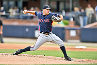 Rome Braves starting pitcher Bryce Wilson (52) delivers a pitch during a game against the Asheville Tourists at McCormick Field on June 25, 2017 in Asheville, North Carolina. The Braves defeated the Tourists 7-2. (Tony Farlow/Four Seam Images)