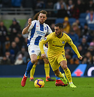 Chelsea's Eden Hazard (right) under pressure from Brighton & Hove Albion's Dale Stephens (left) <br /> <br /> Photographer David Horton/CameraSport<br /> <br /> The Premier League - Brighton and Hove Albion v Chelsea - Sunday 16th December 2018 - The Amex Stadium - Brighton<br /> <br /> World Copyright © 2018 CameraSport. All rights reserved. 43 Linden Ave. Countesthorpe. Leicester. England. LE8 5PG - Tel: +44 (0) 116 277 4147 - admin@camerasport.com - www.camerasport.com