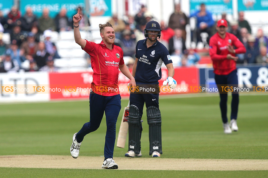 Jamie Porter of Essex celebrates taking the wicket of Nick Gubbins during Essex Eagles vs Middlesex, Royal London One-Day Cup Cricket at The Cloudfm County Ground on 12th May 2017